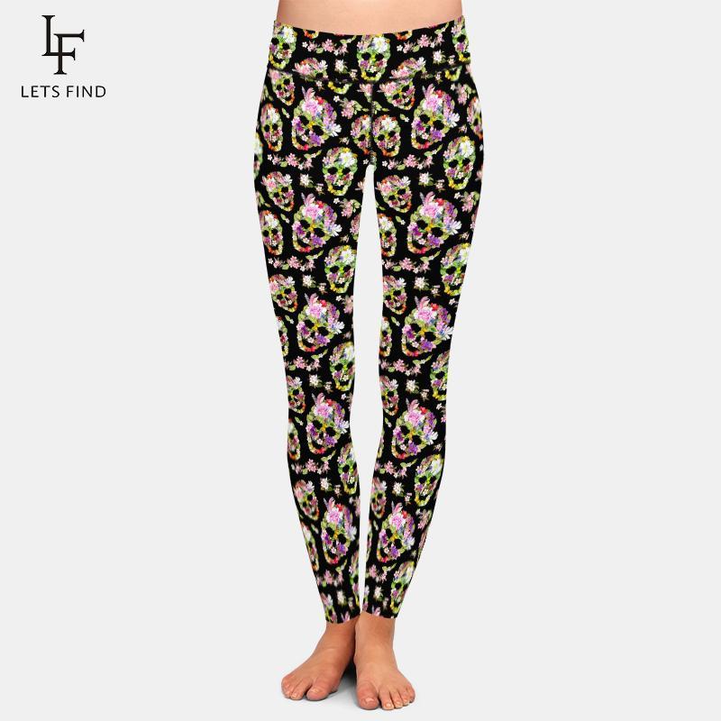 LetsFind empurre as mulheres de cintura alta fitness calças moda crânios florais com flores impressão sexy slim plus size leggings q1230
