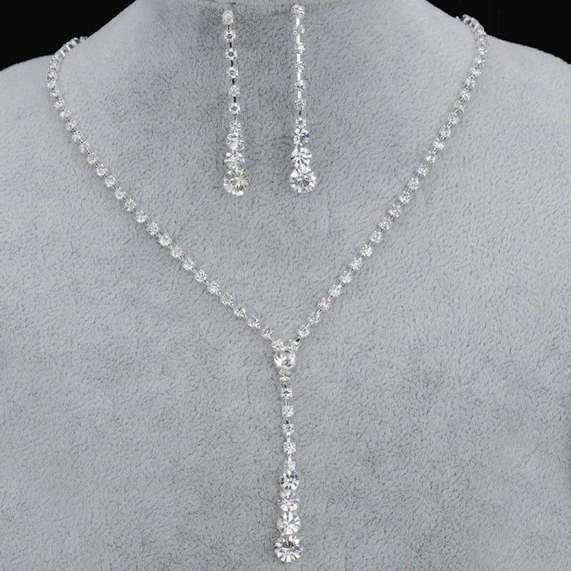 Роскошные Кристалл Люкс комплект ювелирных изделий серебро Позолоченные ожерелье Алмазное Серьги свадебные комплекты ювелирных изделий для невесты Bridesmaids партии Аксессуары