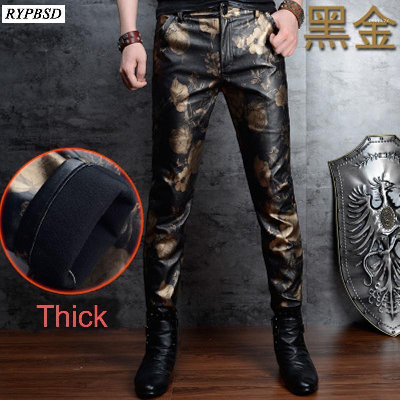 Outono inverno zíper mens calças de couro mais veludo espinho eslim de alta qualidade flor impressão fleece homens faux couro calças de couro 28-361