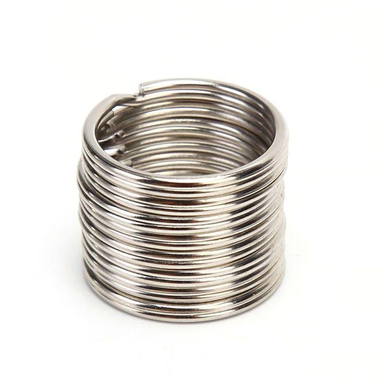 100 unids DIA 12 15 16 20mm de acero inoxidable de acero inoxidable bricolaje llaveros de anillo dividido Cadena Hoop Loop Key Holder