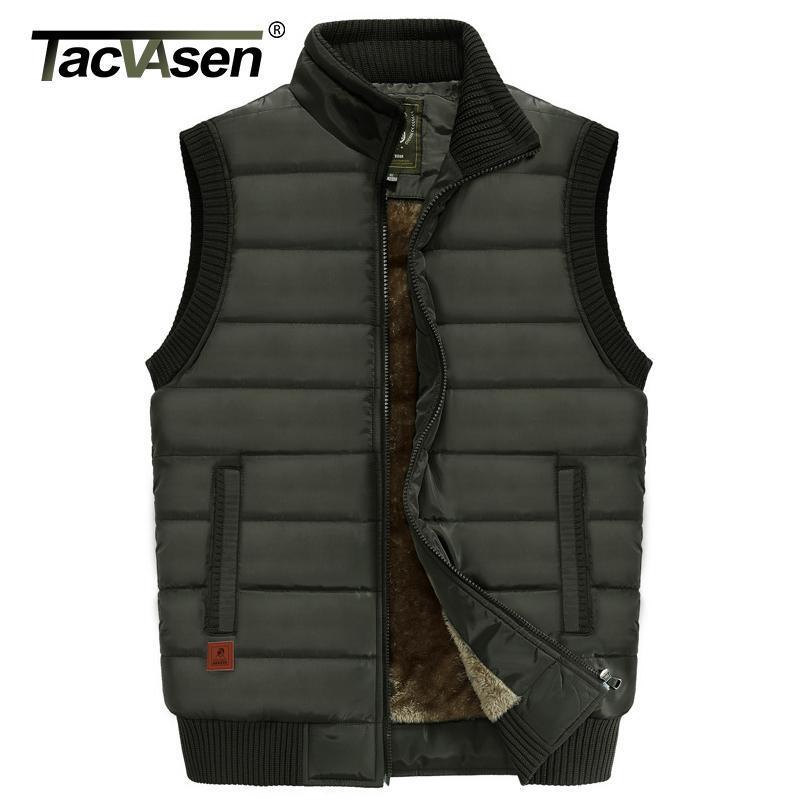 Мужские пушистые Parkas Tacvasen зимнее жилет куртка мужчины фликрованные теплые жилеты повседневный хлопок мягкие пальто рыбы Pogrape Vests 6xL