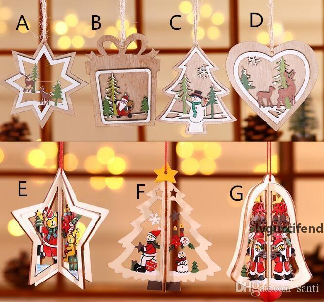 Hot Festive Snowflakesstartree Ciondoli in legno Ornamenti Ornamenti Casa Natale Party Xmas Tree Bambini regali Decorazioni