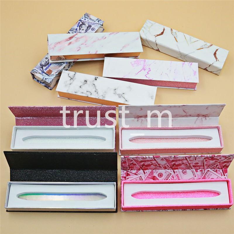 تصميم جديد لاصق كحل صندوق الذاتي لاصق الرموش Eyeliners تغليف صندوق الرخام المال مربع التعبئة هدايا صناديق