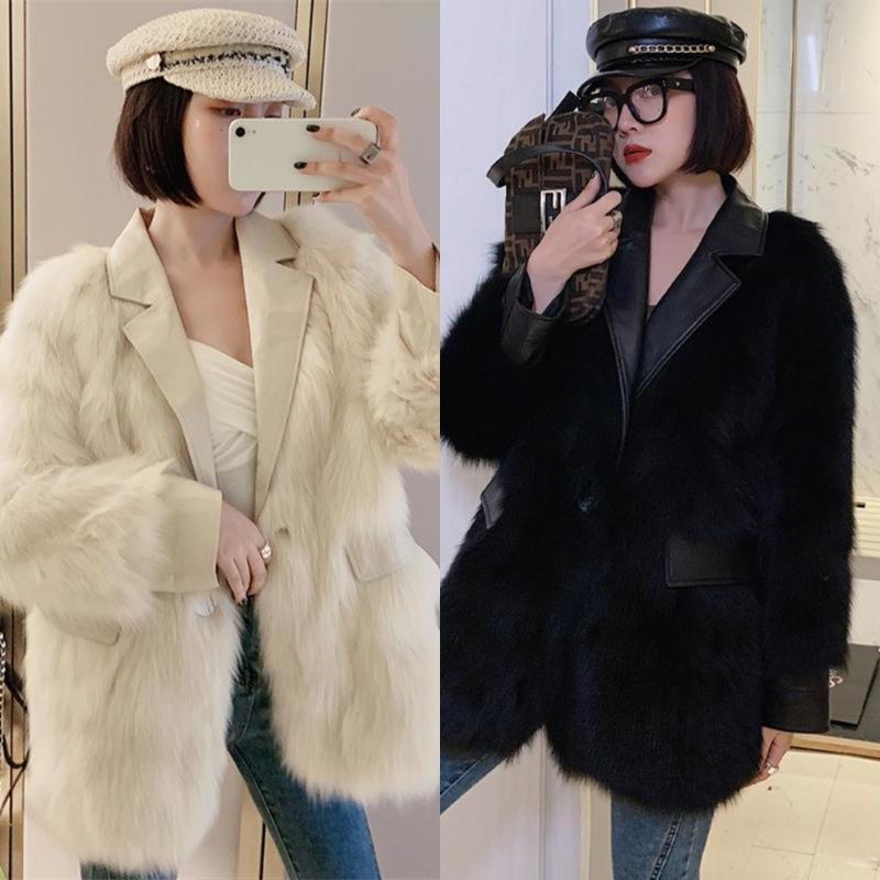 Fallo femenino Faux 2021 Mujer Abrigo Femenino Moda elegante Mullido Mullido Cálido Falso Abrigo Casual Folleto Furrewear Outerwear R54