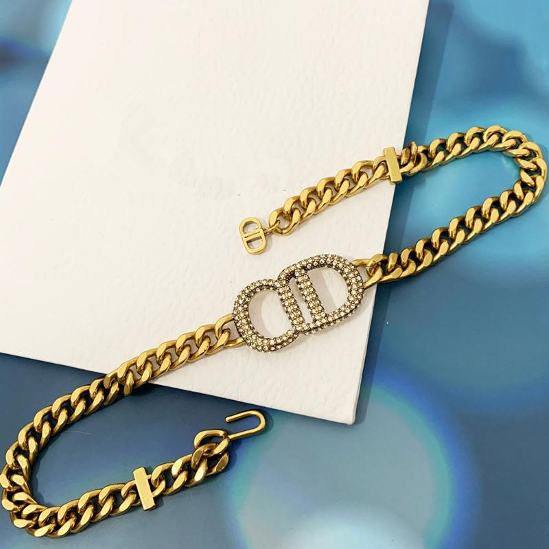 Moda Cobre Double D Letter 14K Gold Cuban Link Chain Colar De Cristal Pulseira Para As Mulheres Partido Amantes Presentes Hip Hop Jóias