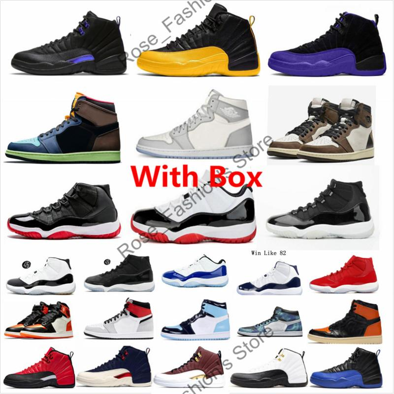 Mit Box 12 Dark Concord XII Mens Basketballschuhe 12s Black University Gold Dard Gray 11 25. Jahrestag gezüchtet 1s UNC an Chicago Sneakers