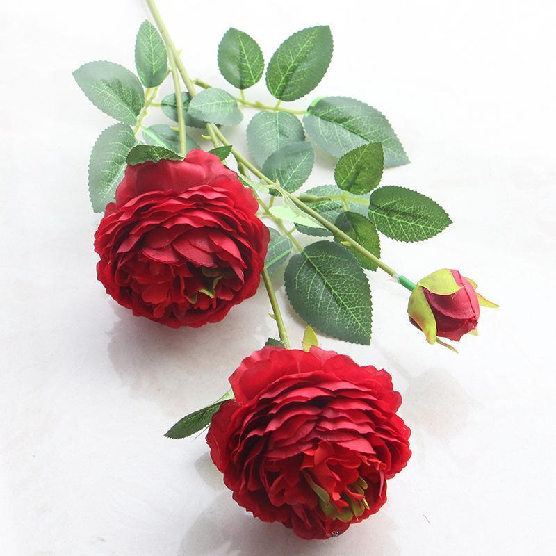 65 cm Uzun Yapay 3 Kafaları Gül Çiçekler Şube Batı İpek Gül Çiçek Sevgililer Düğün Doğum Günü Partisi Dekorasyon Için Favor