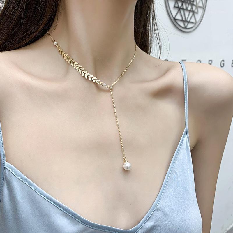 Chaveiros na moda mulheres fadas salgueira colares de folha de ouro pingente de pérola para namorada feminina aniversário jóias1