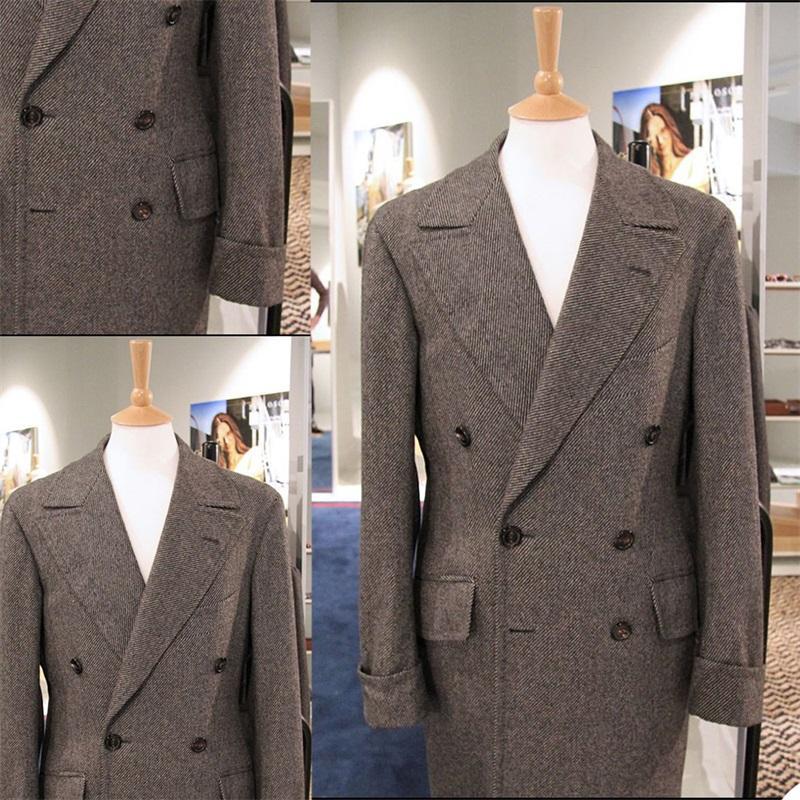 Brown Grosso Homens Tweed Terno Pinstripe Herringbone Homem Casaco Retro Peapo Lapela Dupla Tailed Tailored Homem Outwwear