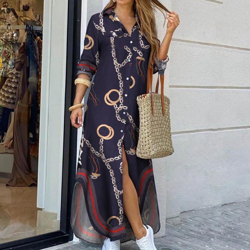 Frauen Umtalte Kragen Hemd Lange Kleid Sommer Knopf Kette Druck Kleid Lässig Herbst Langarm Strand Maxi Kleid Vestido 4XL Y1221