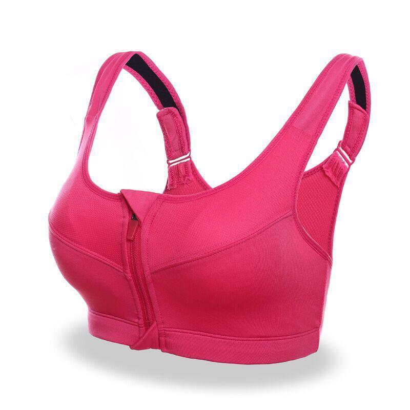 2020 nuova di alta qualità Strappy Sporting Bra elastico frontale con zip Reggiseno imbottito donne Backless Push Up Top grigio / rosa / bianco / nero