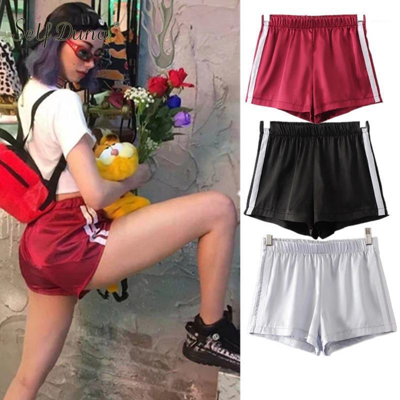 Auto Duna 2020 Mujeres de verano Satin Shorts Striped Stretch Negro Rojo Rosa Casual Reversible Vuelo A WIST Cintura Femenino Mini Shorts1