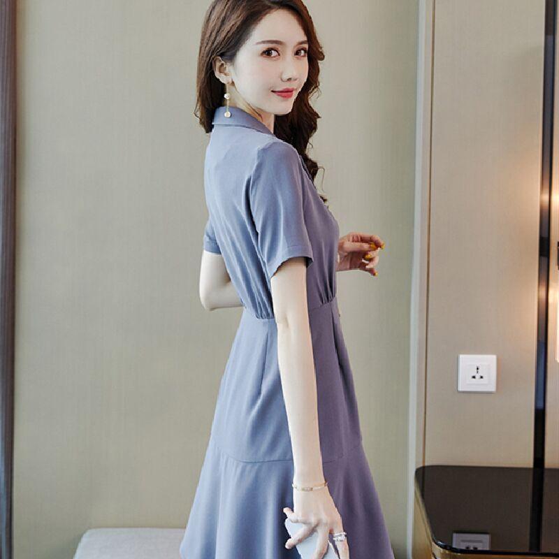 2020 лета новый профессиональный платье тонкий износ с темпераментом тонкого тонким тонких талиями небольшого аромат ветром платьем