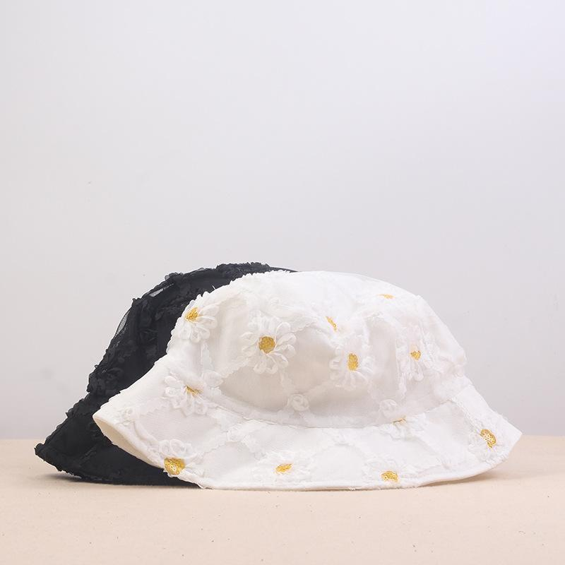 Sombrero de verano para mujer Sombrilla de sol al aire libre de sol sombreros de sol margarita encaje fino transpirable pescador cubeta sombrero playa gorras