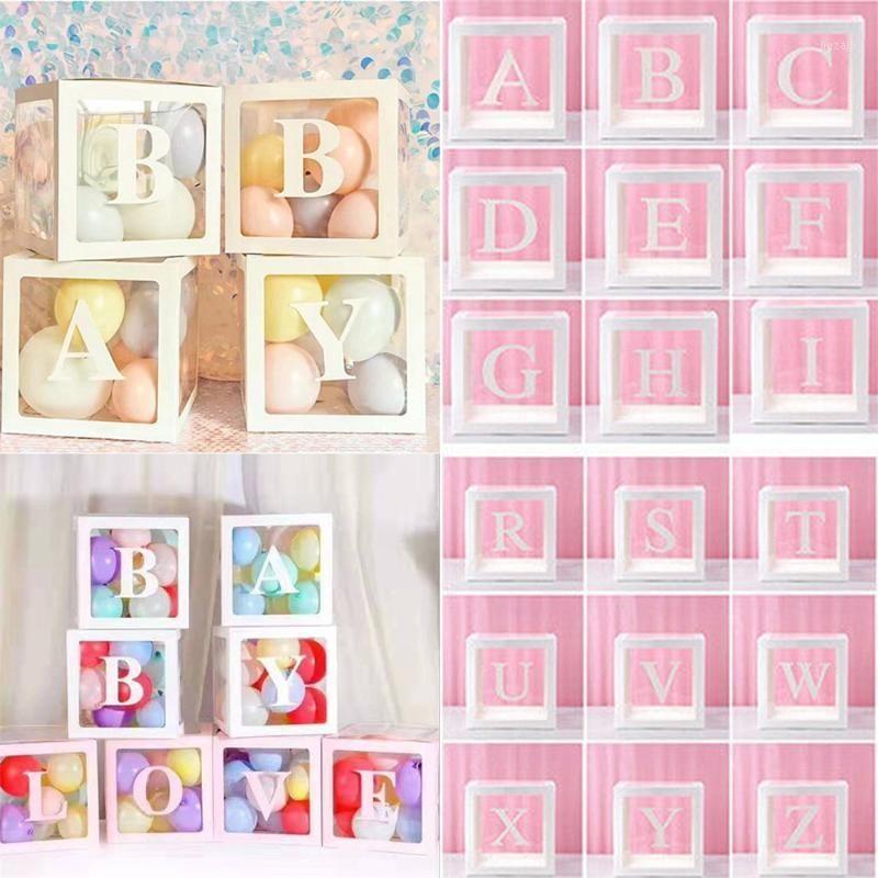 Alfabeto caja de embalaje transparente caja de globo boda globo plástico cumpleaños boda fiesta decoración letra cubo transparente1
