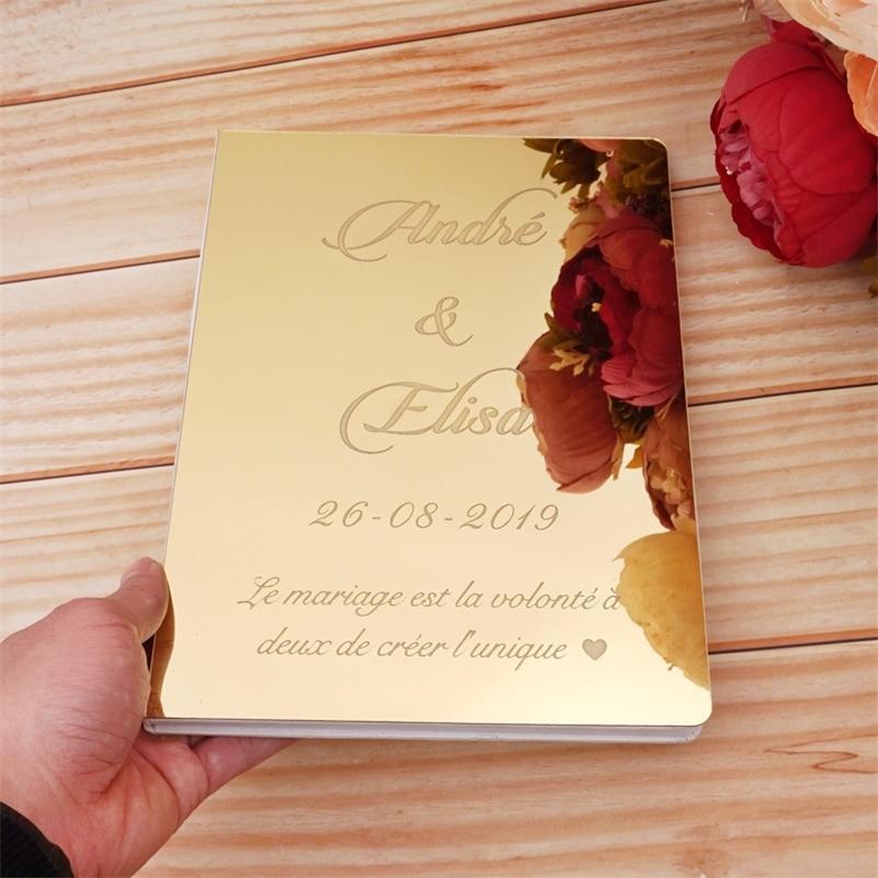 Пользовательские акриловые зеркало белые пустые гостевая книга свадьба подпись гостевая книга персонализированное крещение событие вечеринка декор предоплаты подарки LJ201128