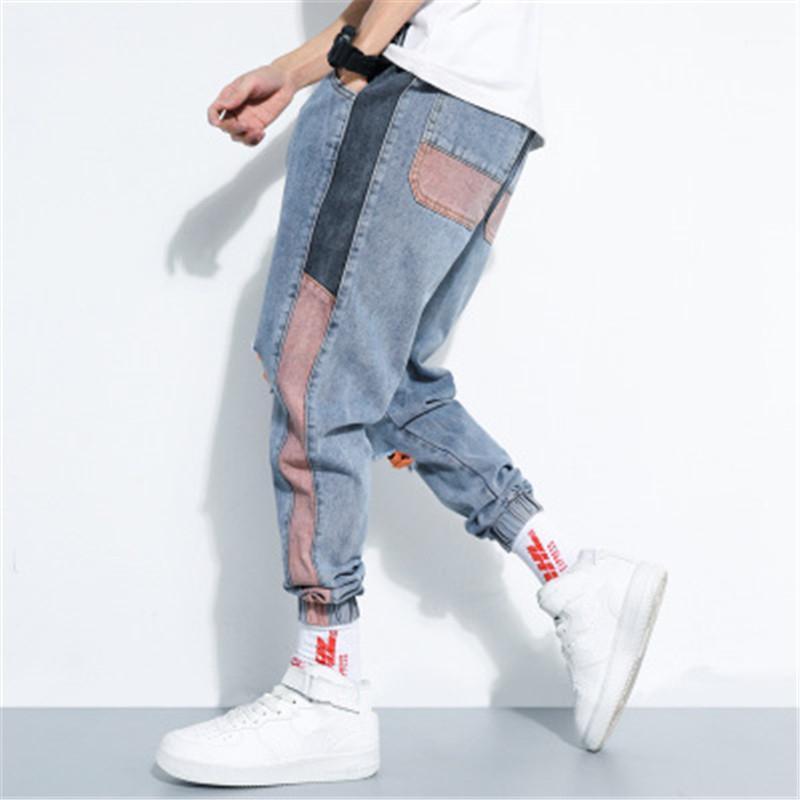 Biker Mid Waist Jeans Man Loose Hole Jeans Fashion Korean Version Trend Drawstring Casual Trousers Clothing Designer Hiphop Skateboard