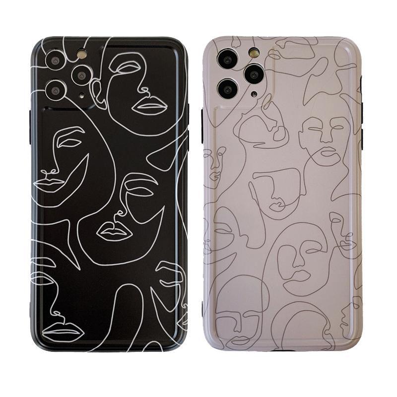 Linha arte abstrata pintura telefone capa para iphone 11 Pro Max 7 8 mais X XR XS Max SE 2 Soft Case 12 mini-tampa traseira padrão retro