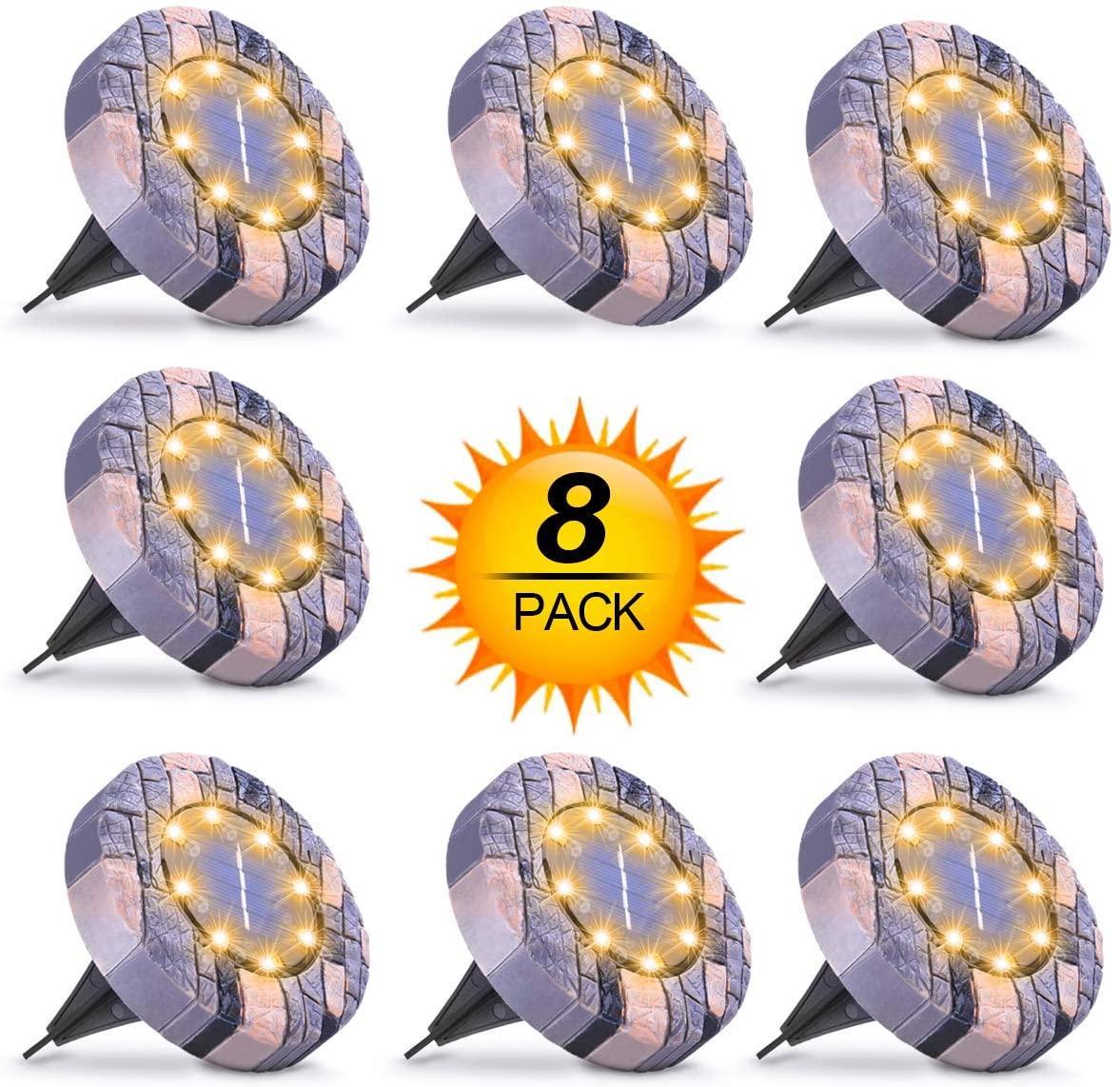 8PACK солнечной энергии наземные огни Открытый водонепроницаемый Солнечные огни сада 8 СИД солнечный диск света для Пути Тропинка Yard Дорожки Патио Lawn
