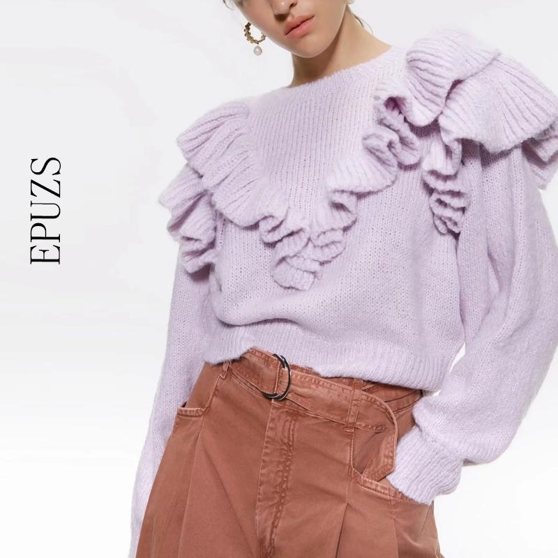 Старинные оборками короткие вязаные свитер женщины зимние женщины свитер о шеи с длинным рукавом пуловеры шикарные вершины сладкие слойки Femme Y200910