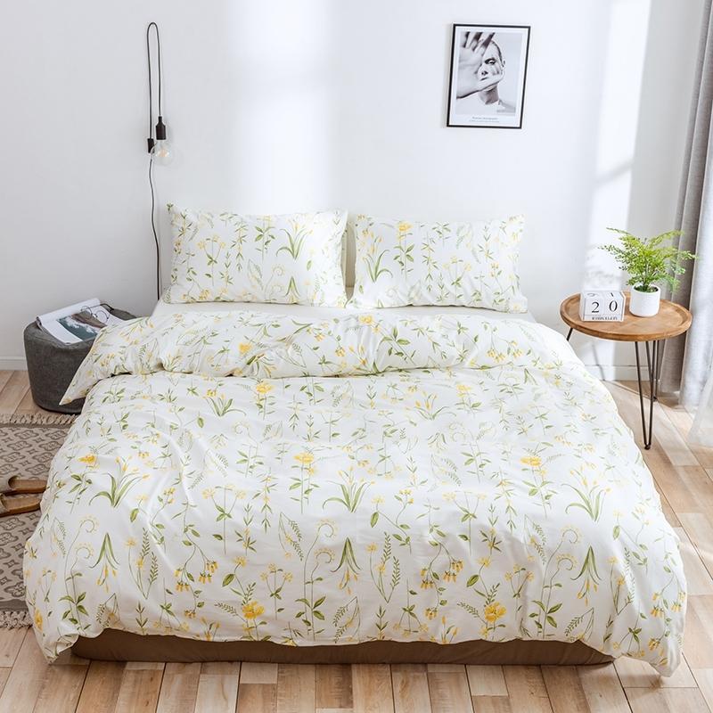 Wujie 2PCS / 3PCS Modèle de fleurs 100% coton couette de couette sertie de couverture de couette taiettes Set Twin / Queen / King Home textile T200409