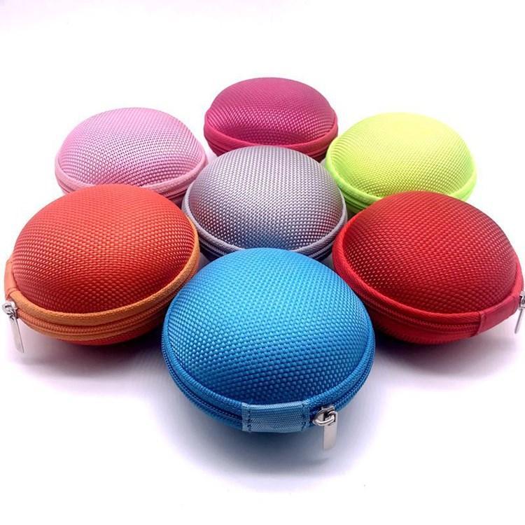 Мини круговой Zipper наушники коробка Защитный кабель USB Органайзер Spinner хранения сумки наушники чехол PU Earbuds Чехол T2I51637