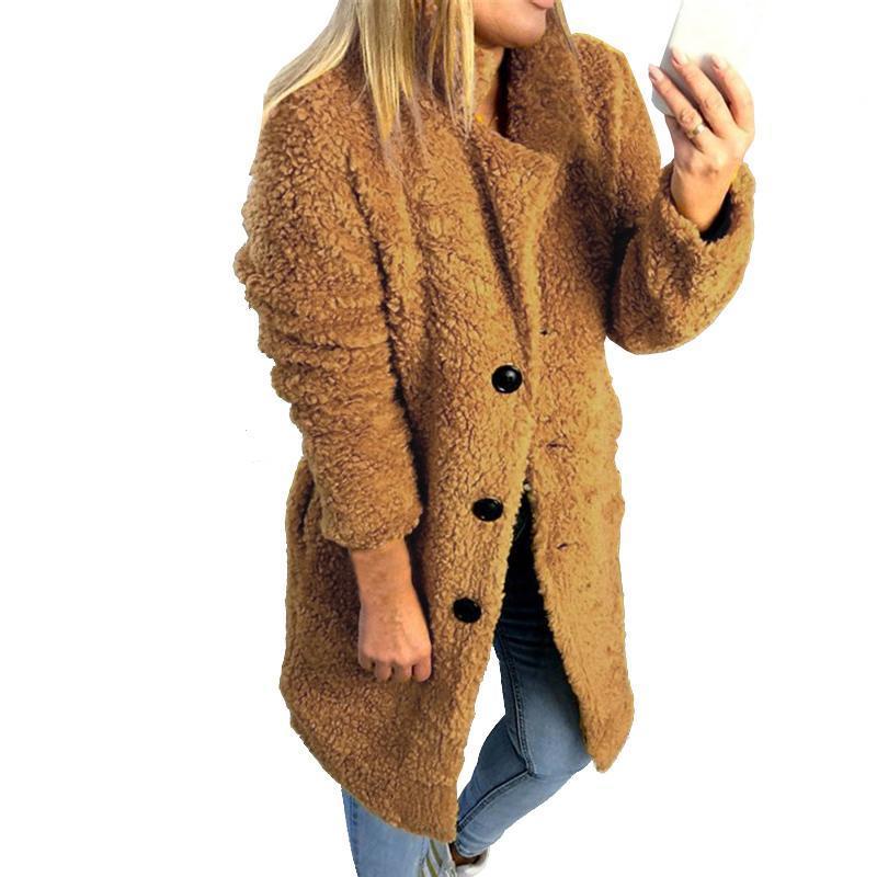 Плюшевые Женщины искусственного меха Длинный пиджак Женский зимний однобортный толстый теплый Твердая пальто ватки Soft Long Верхняя одежда
