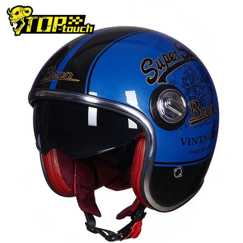 BEON Open Face Motorcycle Helmet Men Casco Moto Motorbike Vintage Cascos Para Moto Double Lens Motocross Capacete Scooter Helmet