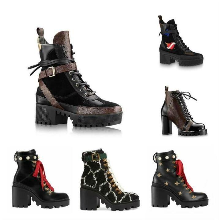 2020 Les dernières bottes de concepteur Femmes Martin Desert Boot flamants roses Amour flèche médaille cuir véritable 100% gros chaussures d'hiver taille 35-42