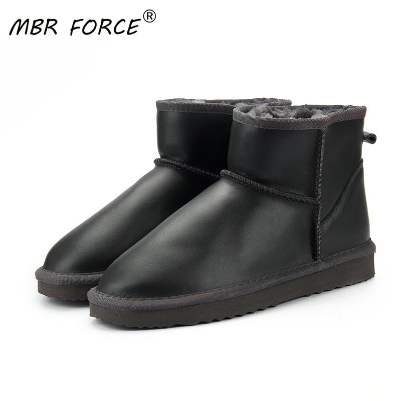 MBR FORCE водонепроницаемый натуральная кожа меха зима теплая шерсть Классический снег сапоги Женщины леди лодыжка обувь