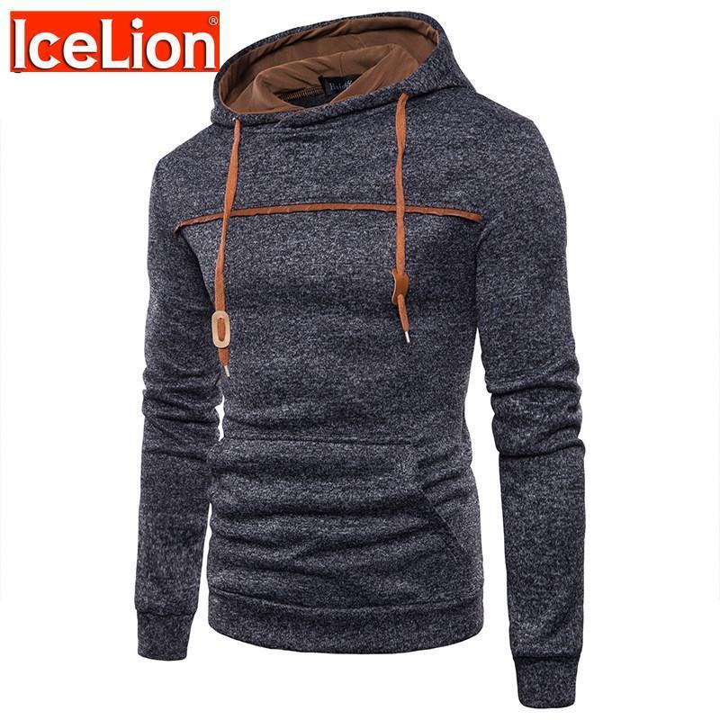 Sweats à capuche Homme Sweatshirts Icelion 2021 Hommes d'hiver Hommes de haute qualité Sweat à capuche à capuche Solide Pullover Sportswear Hip Hop Tracksuit