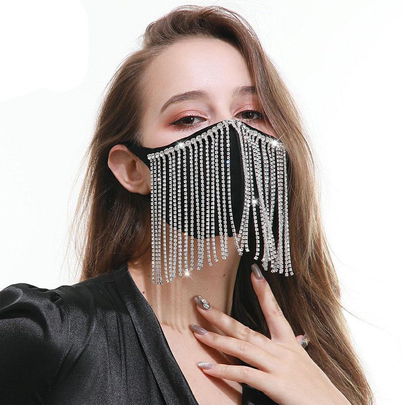 Gliter Diamant-Kristallhand Crafts Troddelfrauen Fashion Party Masken Designer Cotton Personality-Blitz-Bohrgerät Masken atmungsaktiv