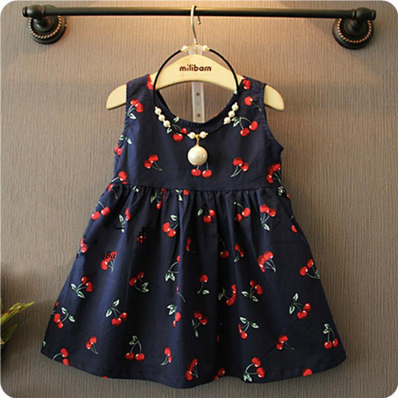 Verano del bebé del vestido de los bebés nuevo estilo occidental cereza sello del algodón se visten Vestidos Infantil Carters de la niña de la ropa 1027