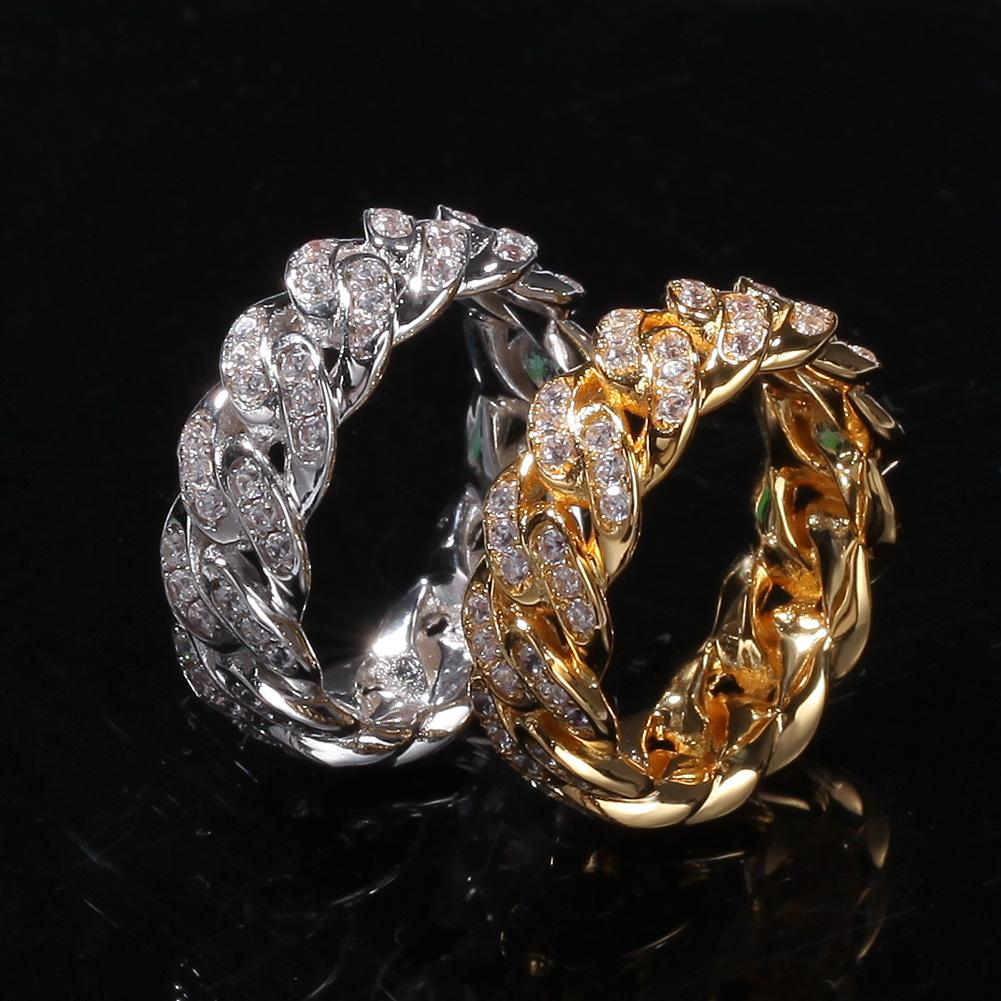 Ювелирные изделия Кольца Мужчины Золото Серебро Кольцо Кольцо Iced Out кубинский Link Chain Размер кольца 8 мм Mix