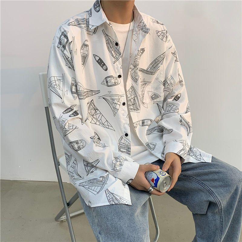 Весенний листинг 2021 года с длинными рукавами напечатанный мужской рубашкой стиль стиль общенационального сопоставления белый Рекомендовать HASV