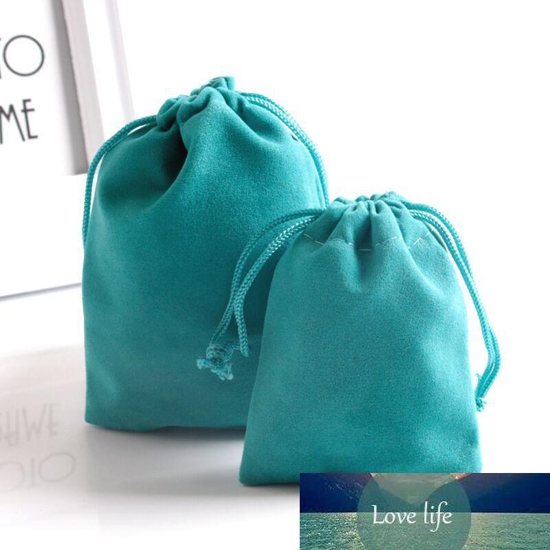 50pcs / lot 7x9 9x12cm bleu Bijoux Sacs d'emballage de haute qualité doux sacs de Noël de mariage de velours cadeaux Pouches realphoto Drawstring