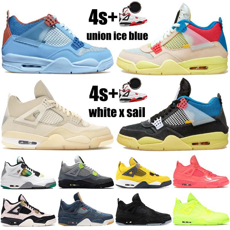 New melhor 4 união noir de gelo azuis 4s Jumpman mens sapatas de basquetebol brancas rasta homens x vela SE de néon das sapatilhas