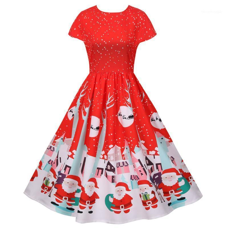 Платья для вечеринок платье для женщин Винтаж принт с коротким рукавом рождественские вечерние качели Festa одежда зимняя одежда Vestido de Mujer1