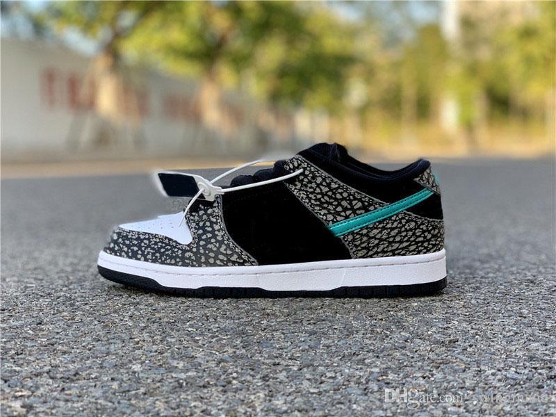 Migliori autentica SB Dunk Low SP Elephant Medium Grey Sneakers Nero Bianco Cancella Jade Skateboard Scarpe Uomo Donne Cemento Shoes Grey Sport