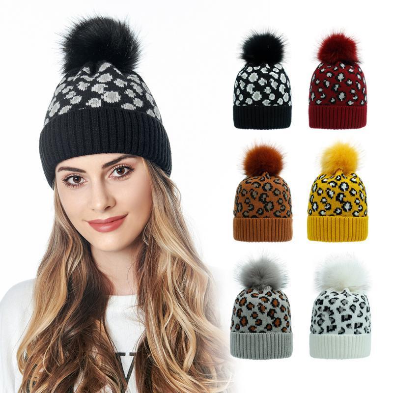 Шапочки / черепные шапки леопардовые печать шерстяные шапочки женские меховые POM Poms вязаная шляпа зима для кепки девушка