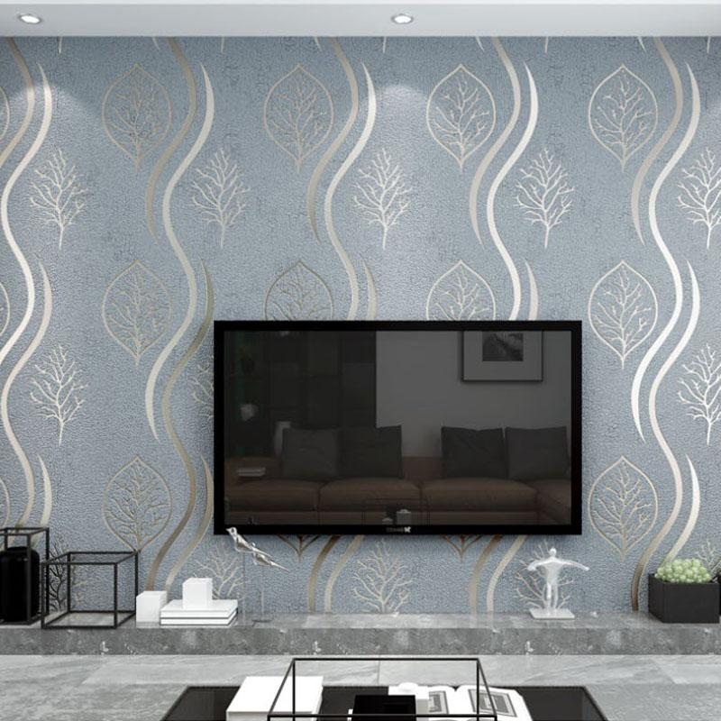 Moderne rayé Papier peint Rouleau non tissé Simple Wave Motif Feuille Suede TV Wall Sticker Salon Chambre Papier peint 3D Gris