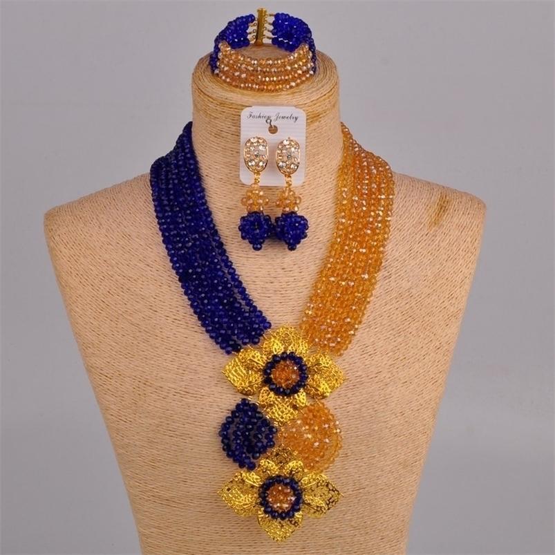 Laanc الأزياء الملكي الأزرق شامبانج الذهب النيجيري الزفاف الخرز الأفريقي مجوهرات مجموعة كريستال C6CHLK024 201225
