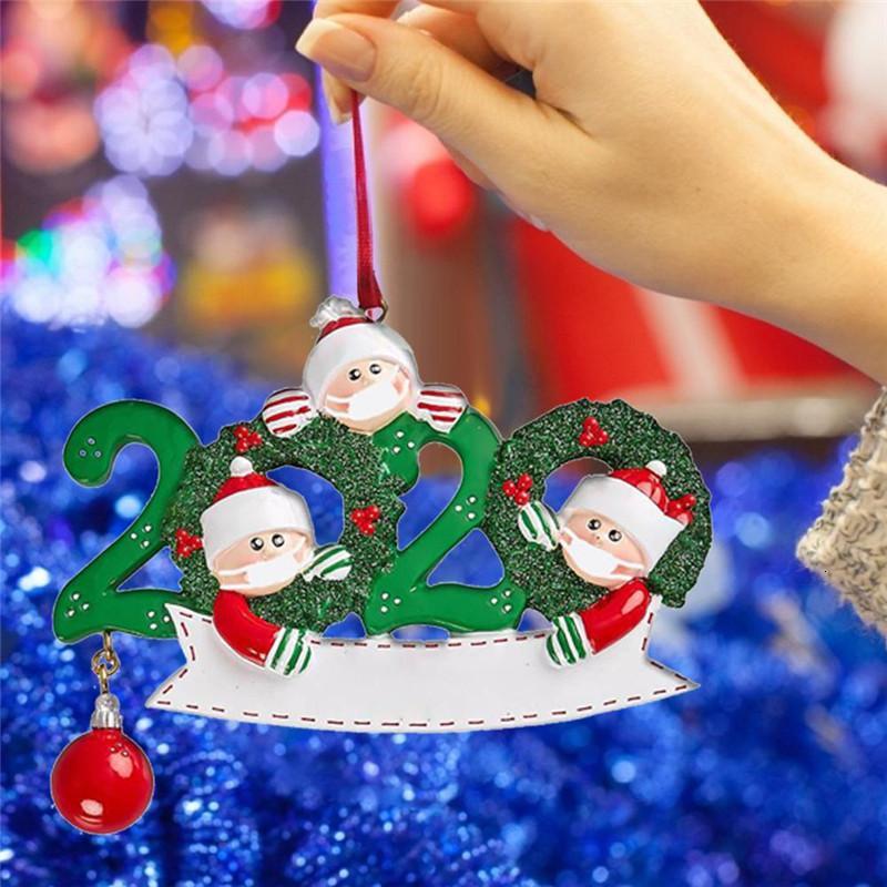 Noel Doğum Parti Süsleri Kişiselleştirilmiş Noel Asma Karantina Süsleme Aile Birlikte Kardan Adam Santa Ağacı kolye Maske