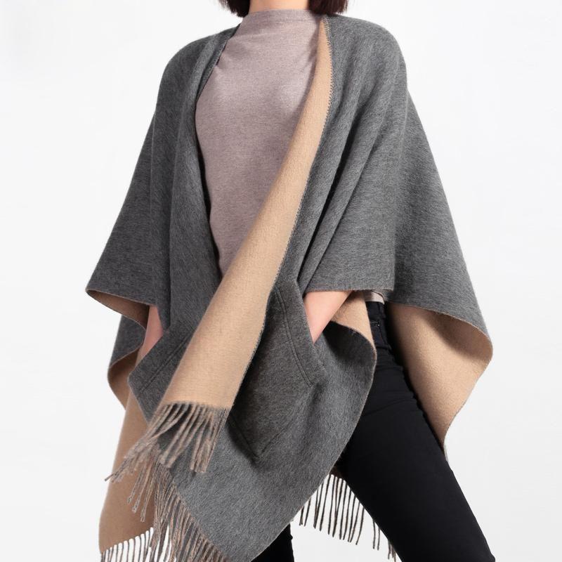 Шарфы 100% шерстяные зимние пончо и накидки для дам Кашемир носимых рукавов платок оборачивает женские одеяло пончо Столс