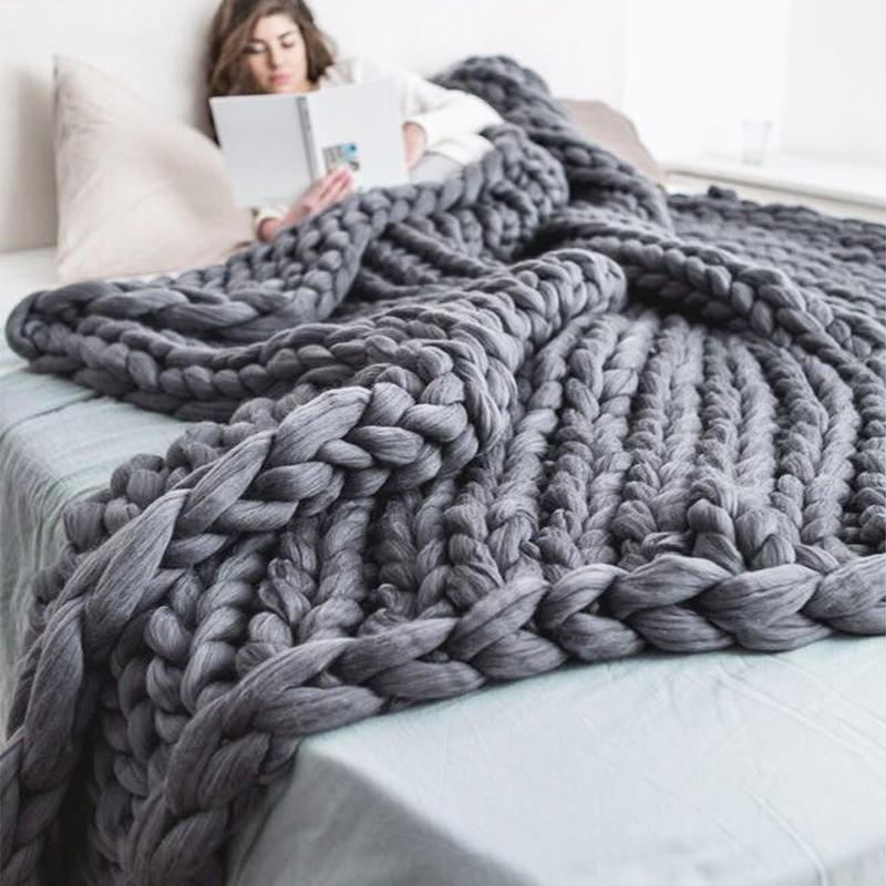 Рука вязаная коренастая одеяло толстая пряжа взвешенная шерсть громоздкое вязание бросить одеяло теплый зимний домашний диван кровать бросает одеяла