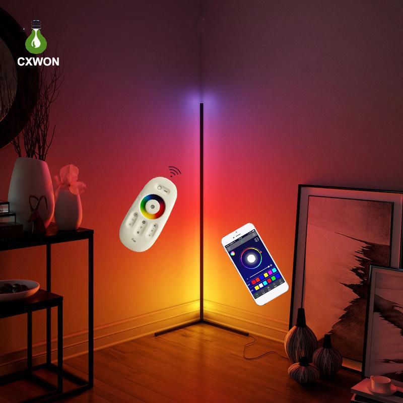 Modern Zemin Lambası Kısılabilir RGB Köşe Lambası Yatak Odası Atmosfer Kapalı Dekorasyon Lambası Standı Köşe Yer Işık Kontrolü Uygulama veya Uzaktan