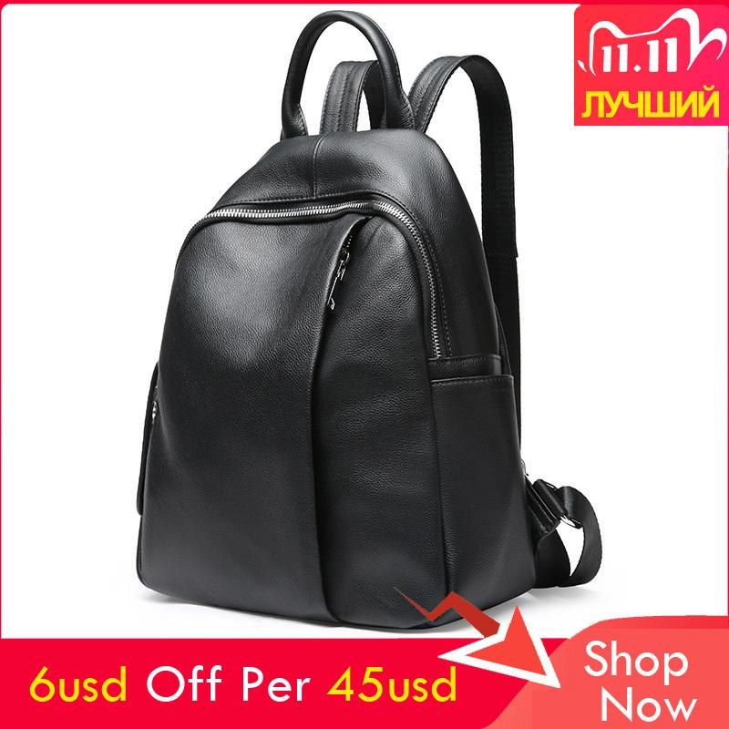 2020 Winter All-match Women Backpack Real Leather High Quality Ladies Pretty Style School Solid Color Large Travel Bag Q1113