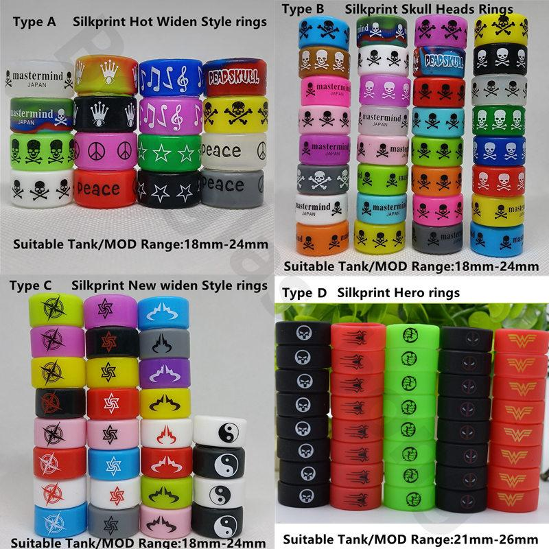 DHL Silicone Rubber Vape Band Ecig Cover Rings Bag Personalized Custom OEM Logo Silkprint Decoration Protection Vapor Fit For 18-26mm Tank Mod