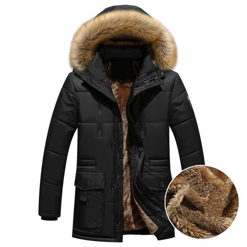 Caliente grueso Parka Hombres Fleece capucha de piel invierno de los hombres chaqueta de la capa de carga media-larga para hombre abrigo