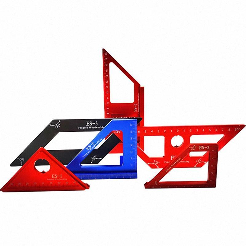 Tratamiento de la madera Regla de aleación de aluminio Plaza Mitre Disposición Triángulo regla 45/90 Grado Scribe Carpintería Herramientas de medición kF2R #